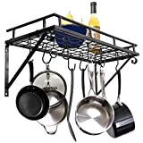Zenchef Wall MountedSquare Pot Pan Rack with 10 Hooks, Multi-Purpose Organizer for Home, Restaurant, Kitchen Cookware, Utensils, Books, Household