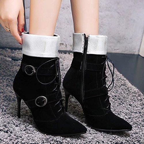 AIYOUMEI Damen Stiletto Stiefeletten mit Schnalle und Schnürung Spitz Zehen Stiefel Schuhe Schwarz