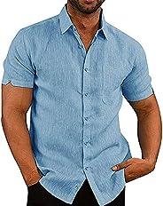 Men's Linen Shirt Short Sleeve Loose Summer Comfortable Cotton Linen Casual Loose Holiday Shirt