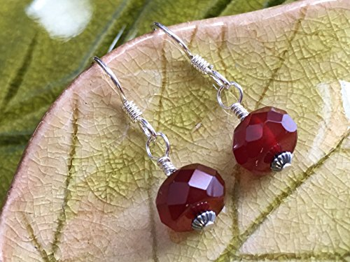 Red Carnelian Earrings (JANECKA Dark Carnelian Single Drop Earrings / Natural Red Stone / Sterling Silver)