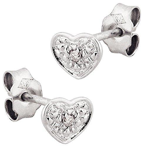 LP Créations - 1253DT : Boucles d'oreille Femme Or 18K blanc et Diamant - Coeur