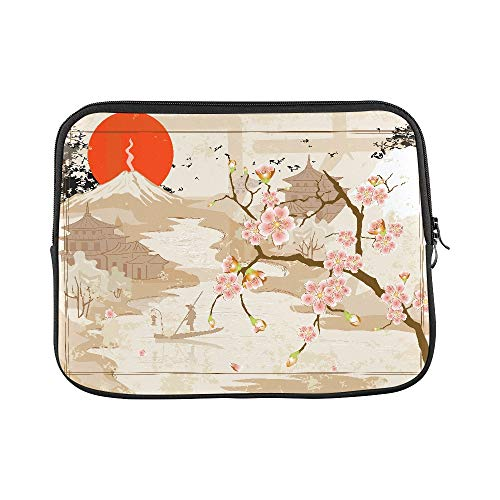 """Price comparison product image Design Custom Japanese Fisherman and Village Under Mount Fuji Sleeve Soft Laptop Case Bag Pouch Skin for MacBook Air 11""""(2 Sides)"""