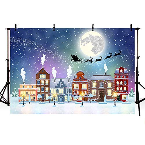 MEHOFOTO 8x6ft Cartoon Christmas Snow Santa Deer Photography Backdrops Christmas Eve Street Moon Photo Studio Backgrounds Props