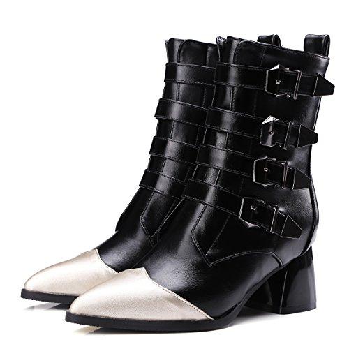 mujer señaló amp;X corto QIN zapatos Toe bloque tamaño grande Botines Black de talón el La qtBdE