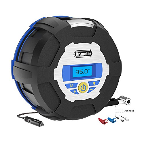 [Tire Inflator Compressor Pump] Dr.meter Air Compressor Pump, Auto Digital Tire Inflator with Digital Gauge, 3 High-Air Flow Nozzles& Adaptors for Car, Bicycle, Basketball,12V 150PSI Automatic Air Conditioning