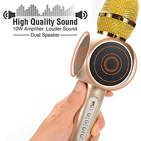 ESHISHANG Multi Magic Karaoke player Portable Wireless Bluetooth Microphone with Mic Speaker Condenser Fashion Home Mini Karaoke Player KTV Singing Record for Apple Samsung iPhone Smart Phone - Magic Mic