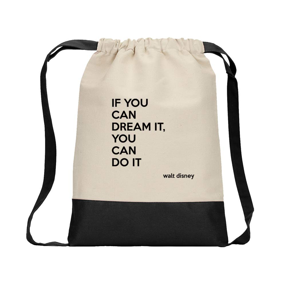 If You Can Dream It, You Can Do It (Walt Disney) Cotton Canvas Color Drawstring Bag Backpack - Black
