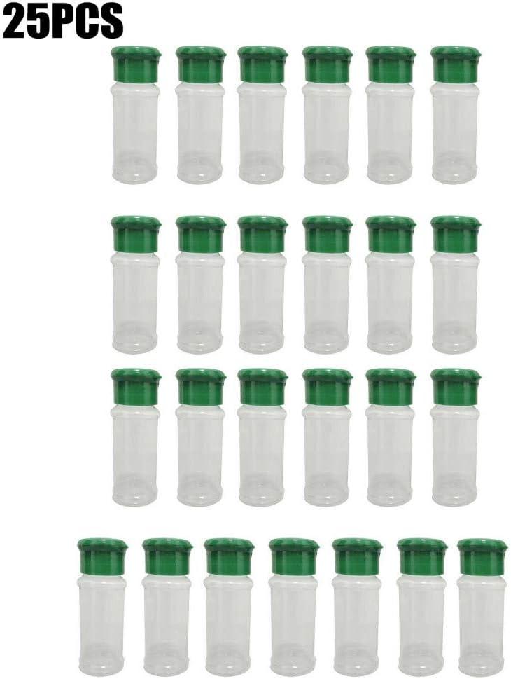 25 botes de plástico para especias, salero, pimentero, condimentos, barbacoa, condimentos, botes perfectos para almacenar especias, hierbas y polvos 25pcs 100ML verde