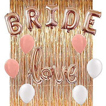 Bachelorette Party Decorations and Supplies Favor Kit | Rose Gold Bride and Love Balloon, 3 White 3 Rose Gold Latex Balloons w/Complete Rose Gold Hangover Veil Curtain - By Realm Essentials