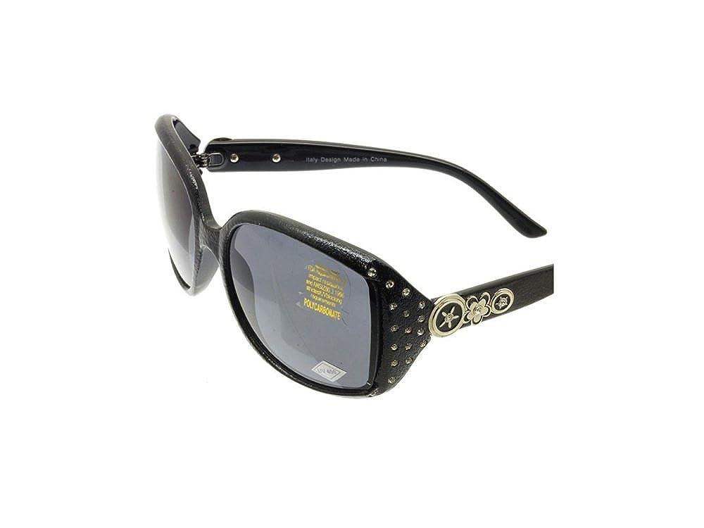 Black Crystal Stone Studded Wide Lense Sunglasses