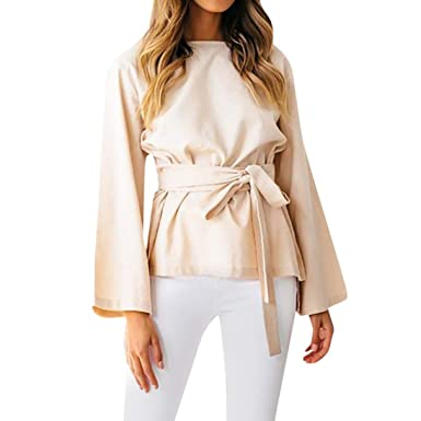 61a3442a1d6ac Amazon.com: DEATU Ladies Blouses, Womens O Neck Long Sleeve Solid Tops  Waistline Shaped T Shirt Belt: Clothing