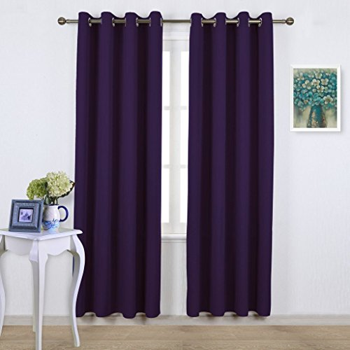 NICETOWN Insulated Curtains Blackout Draperies - Window Treatment Royal Purple Blackout Eyelet Top Curtains / Panels for Bedroom/ Living Room Window, 95 inch Long, 2 Panel Set