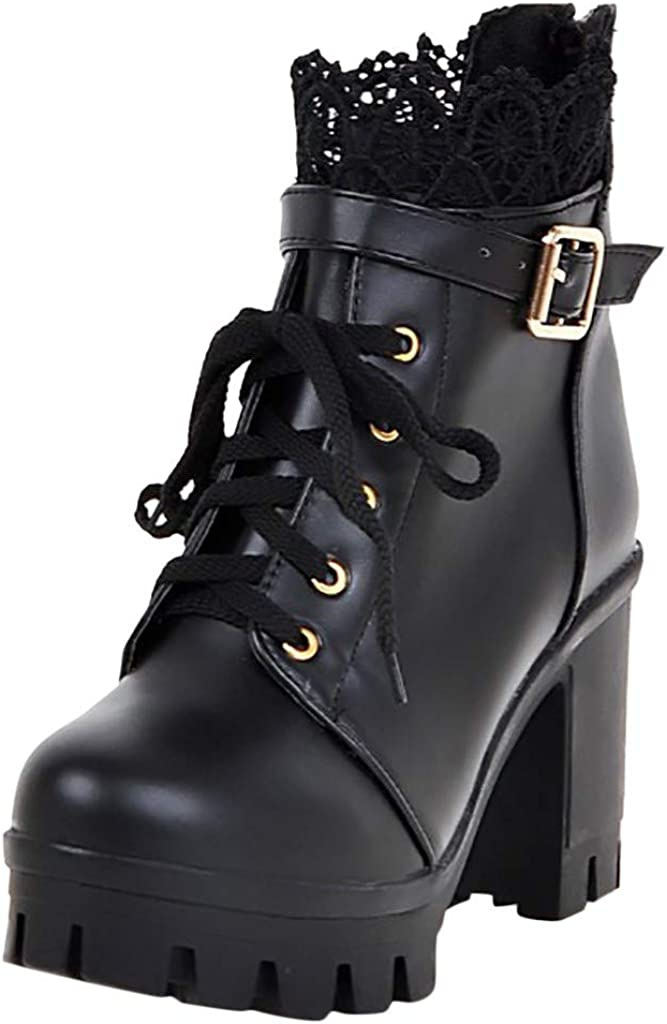 Womens High Heel Bootie Fashion Student Thick Lace Up Ankle Boots Black High Top Platform Shoes Sumeimiya