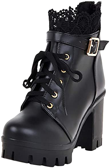 Ankle Boots Women Leather Platform Wedge High Heels Lace Up Military Oxfords New