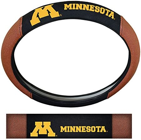 Team Colors One Size NCAA Minnesota Golden Gophers Steering Wheel CoverSteering Wheel Cover Premium Pigskin Style