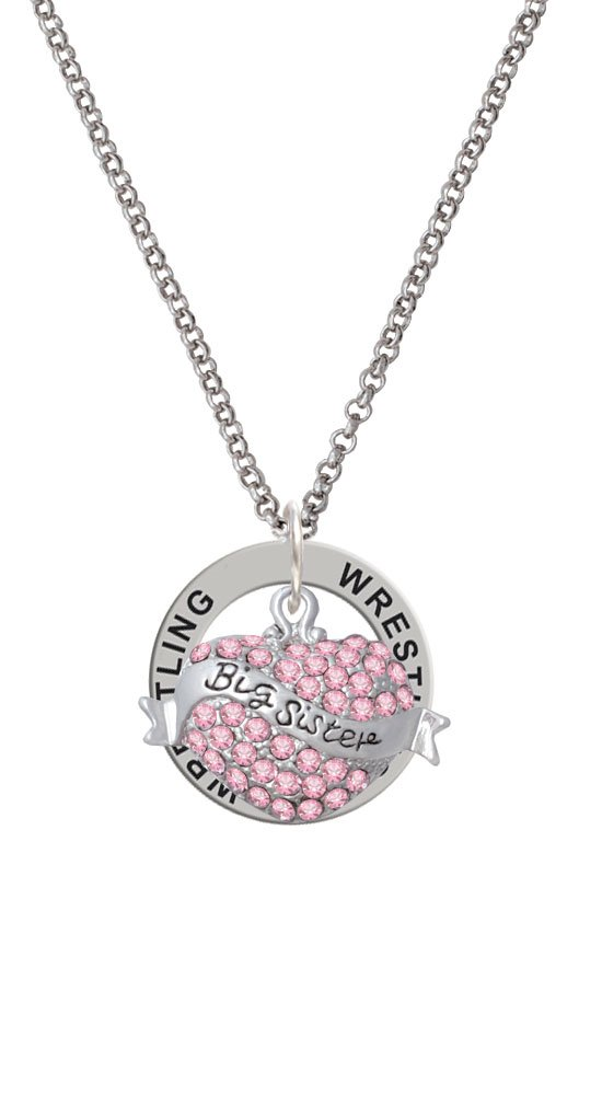 Big Sister Banner on Pink Crystal Heart - Wrestling Affirmation Ring Necklace by Delight Jewelry