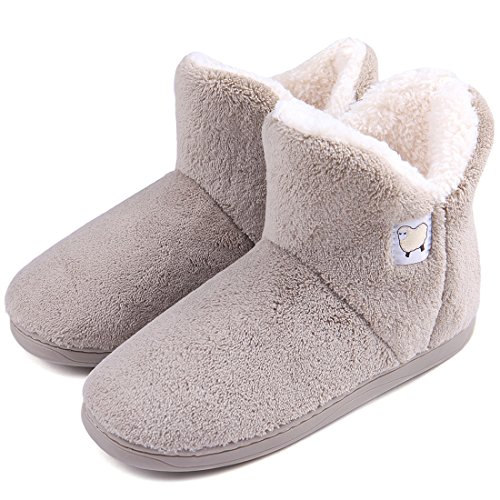 Dailybella Women Warm Plush Slipper Boots Cozy Wool Indoor Outdoor Home Shoes (8-8.5 B(M) US, Camel)