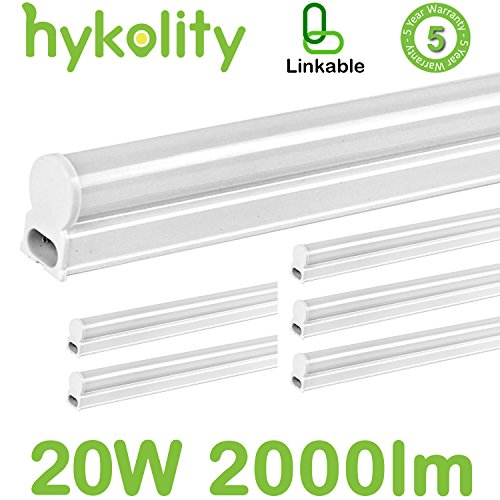 Hykolity LED T5 Integrated Single Fixture, 4FT 20W 2000lm