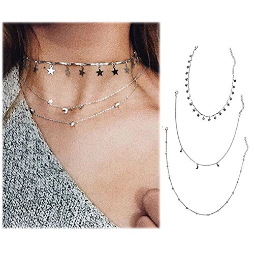 Wowanoo Choker Necklace Set Multilayer Layers Stars Chain Clavicle Necklace Jewelry for Women ThreeS (Set Necklace Layer)