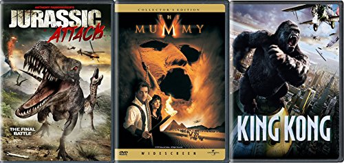 Big Monster Attack King Kong Peter Jackson / The Mummy Collectors Edition & Jurassic Attack Triple Movie Pack DVD 3-Feature
