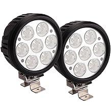 Lightronic 2pcs 6Inch 70W CREE Round LED Work Driving Spot Fog Light bar Off-road ATV UTE Jeep