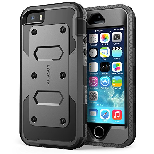 iPhone 5S Case, [Heave Duty]Slim Protection i-Blason Armorbox [Dual Layer] Hybrid Full-body Protective Case with Front Cover and Built-in Screen Protector / Impact Resistant Bumpers Cover with Holster Combo for Apple iPhone 5 / 5S (Black) by i-Blason