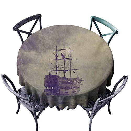 Round Outdoor Tablecloth,Nautical,Old Pirate Ship in The Sea Historical Legend Cruise Retro Voyage Grunge Style Art,Table Cover for Kitchen Dinning Tabletop Decoratio,55 INCH,Tan Plum