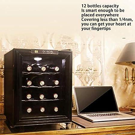 TYUIOYHZX Freestanding 18 Botellas Frigorífico de Vino, Zonas de Temperatura 12-18 ° Botón Enfriador de Vino, Cellizador de Nevera de Vino