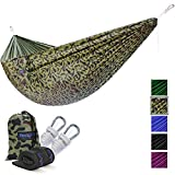 Yes4All Lightweight Double Camping Hammock with Strap & Carry Bag – Nylon Parachute Hammock/Lightweight Portable Hammock for Camping, Hiking (Camouflage)