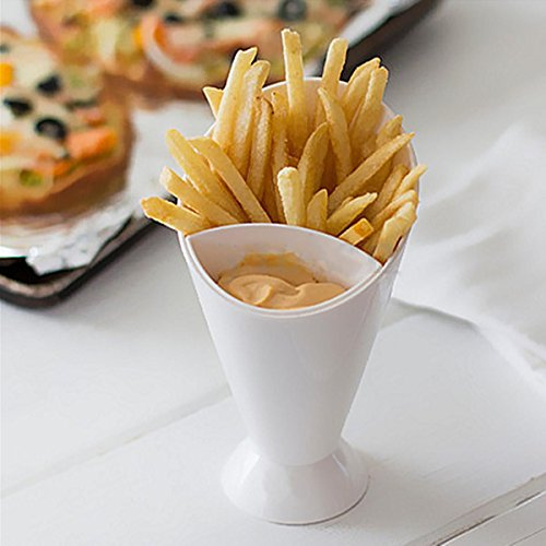 Snack Cone Holder, WCIC 2-Pack Fries Chips Dipping Cups Finger Food Salad Stand With Removable Dip Cup