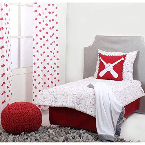 - TL 4 Piece Kids Red Grey Oversize Sports Theme Toddler Bed Set, Oversized Gray White Baseball Bedding Base Ball Bats Gloves Athlete Sport Comforter Star Stripe Pattern Large Kid Bed, Polyester