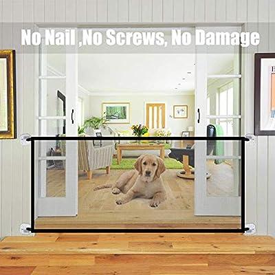 GOOCO Magic Door -Puerta Retráctil Enrollable para Bebés, Barrera De Seguridad para Perros Y Perros, Escalera De Barrera De Seguridad para Niños-Negro: Amazon.es: Productos para mascotas