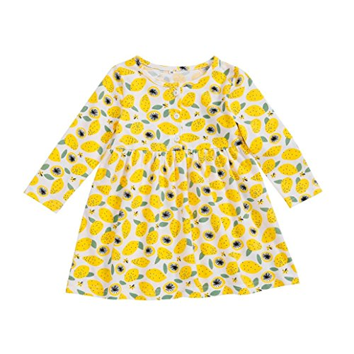 Infant Toddler Baby Girls Dress Cozy Ruffles Long Sleeves Cotton Tops Skirt (4T(3-4 Years), Yellow)