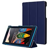 Gvirtue Lenovo Tab 3 Essential TB3-710F Case - [Smart Shell] Ultra Slim Light Weight Cover with Auto Sleep/Wake Feature for Lenovo Tab 3 Essential 7-Inch Android Tablet, 17.78 cm, Azul marino