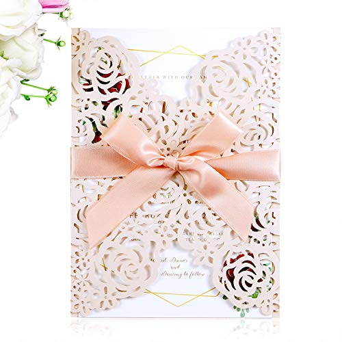 PONATIA 25PCS/Lot 250GSM 5.12 x 7.1'' Wedding Invitations Cards Laser Cut Hollow Rose With Ribbons For Wedding Bridal Shower Engagement Birthday Graduation Invite (Blush Pink)
