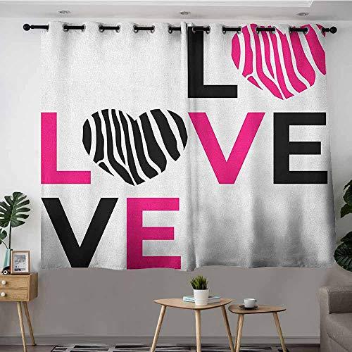 - VIVIDX Blackout Curtains Panels,Pink Zebra I Love You Calligraphy Zebra Stripes Hearts Valentines Illustration,Blackout Draperies for Bedroom,W63x45L Pink Black and White