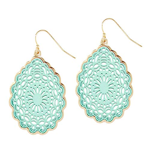 Filigree Floral - Pomina Coated Filigree Floral Drop Earrings (Mint)