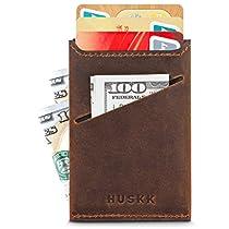 Slim Front Pocket Leather Wallet for Men Card Holder Up to 8 Cards & Cash HUSKK