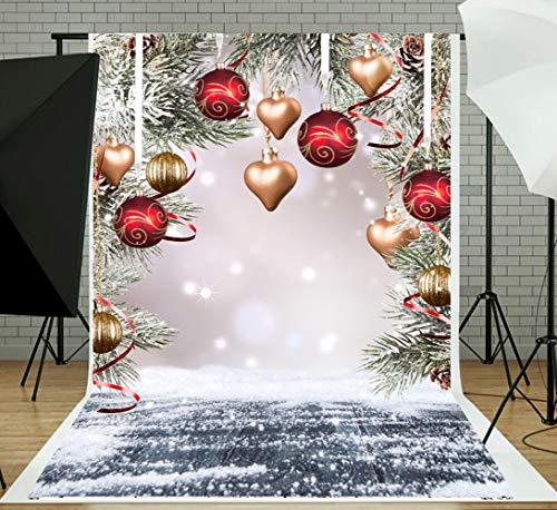 DLERGT 10x10FT Christmas Ball with Wood Floor Photography Backdrop Vinyl Newborn Photo Background Studio Prop 1-143 (Photo Floor Vinyl)