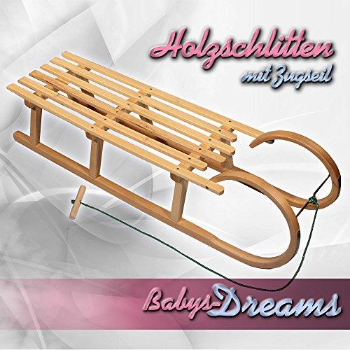 Babys-Dreams Hörnerrodel 120cm + Zugleine Schlitten Holzschlitten Kinderschlitten NEU