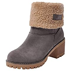 45912854edc Women s Winter Short Boots Round Toe Suede Chunky Low Heel Faux Fur Warm  Ankle Snow Booties