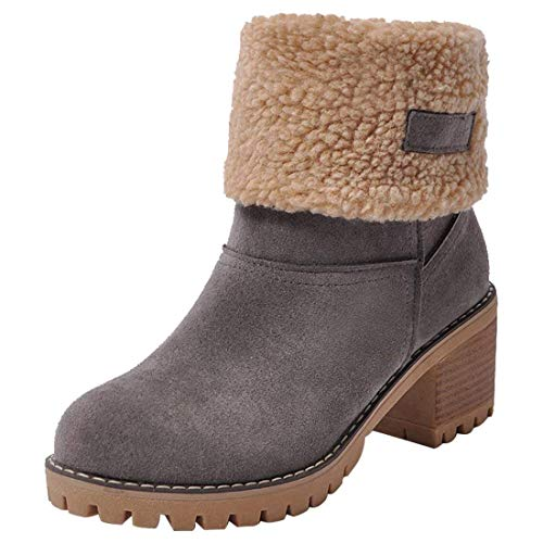 Susanny Womens Ankle Snow Boots Winter Warm Fur Booties Chunky Mid Heels Cute Shoes Grey 9 B (M) US ()
