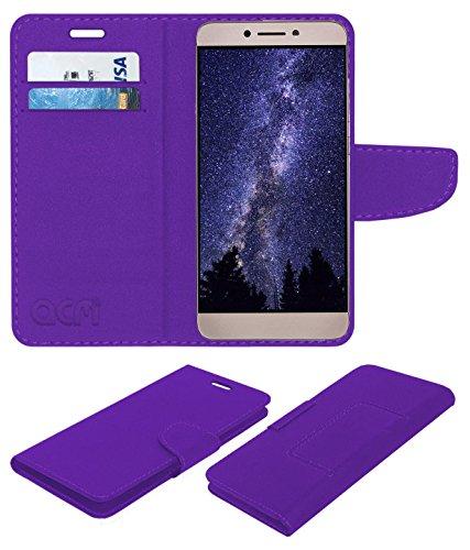 Acm Mobile Leather Flip Flap Wallet Case Compatible with Leeco Le 2 Mobile Cover Purple