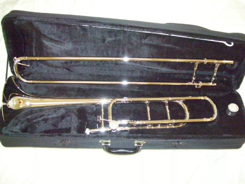 Silver Trigger Trombone with case and mouthpiece, open wrap by Maestro