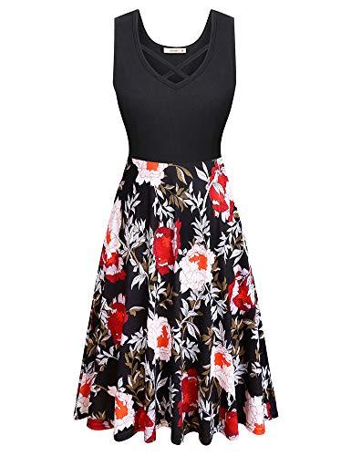 - Women's Sleeveless V Neck Criss Cross A line Waistline Midi Dress Casual Flared Tank Dress Red Medium