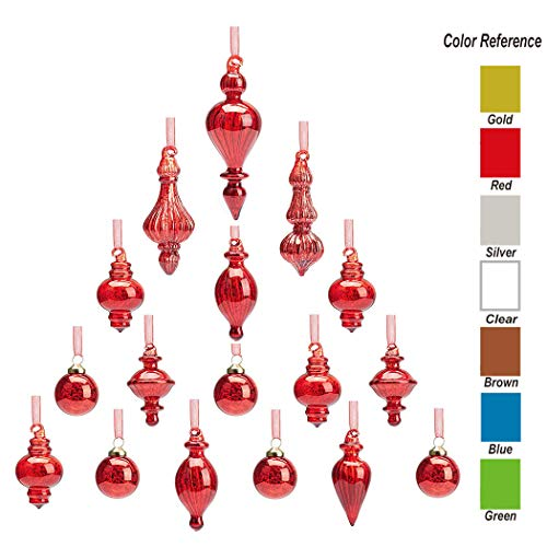 youseexmas Mouth Blown Glass Christmas Ornaments Pack of 17 Small Size (red)