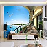 LHDLily 3D Balcony Sea View Room Home Decoration Wallpaper Living Room Bedroom Office Mural Background Wall 350cmX250cm