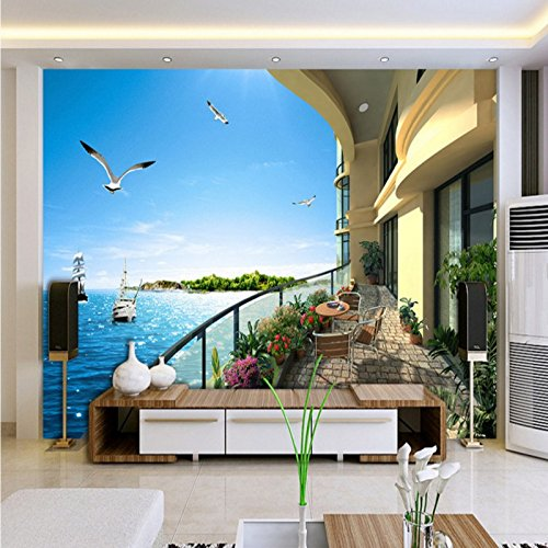 LHDLily 3D Balcony Sea View Room Home Decoration Wallpaper Living Room Bedroom Office Mural Background Wall 350cmX250cm by LHDLily