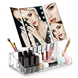 HOMEVER LED Makeup Mirror, Vanity Mirror with Lights and Magnification for Makeup, Lighted Makeup Mirror with Acrylic Makeup Organizer, 21Pcs LED Lights and Touch Screen 180 Degree Rotation