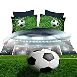3D Soccer Ball Football Bedding Sets, 100% Polyester 3d Bedding Sets, 4pcs with Duvet Cover, Bed Sheet, 2pillow Case (Comforter Not Included) Twin Size